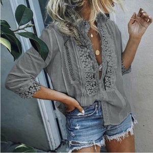 Grey Boho Lace Top
